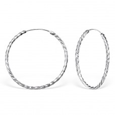 40mm Twisted - 925 Sterling Silver Ear Hoops A4S276