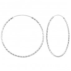 60mm Endless hoop - 925 Sterling Silver Ear Hoops A4S277