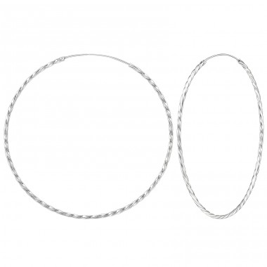 80mm Twisted giant hoop - 925 Sterling Silver Ear Hoops A4S278