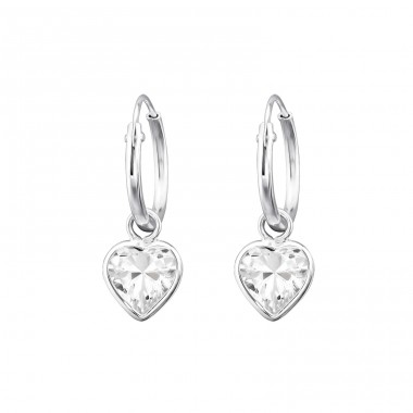 Drop Heart - 925 Sterling Silver Ear Hoops A4S31083