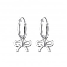 Bow - 925 Sterling Silver Ear Hoops A4S31272