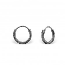 Diamond Cut 8mm - 925 Sterling Silver Ear Hoops A4S31512