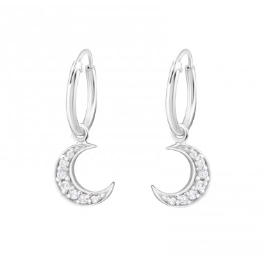 Moon - 925 Sterling Silver Ear Hoops A4S32040