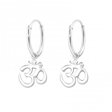 Hanging Om - 925 Sterling Silver Ear Hoops A4S32137