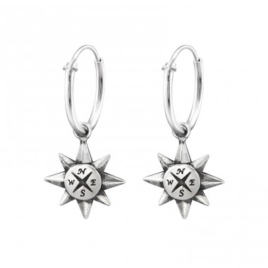 Compass - 925 Sterling Silver Ear Hoops A4S32141