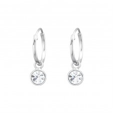 Hanging Round - 925 Sterling Silver Ear Hoops A4S32934