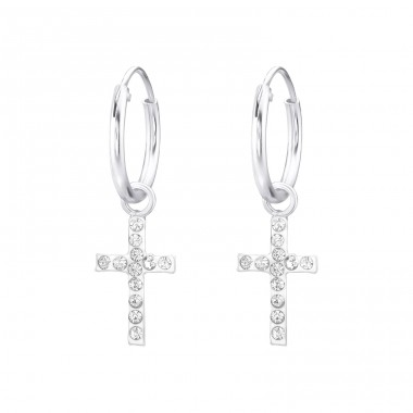 Cross - 925 Sterling Silver Ear Hoops A4S33165