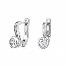 Sparkling - 925 Sterling Silver Ear Hoops A4S34326