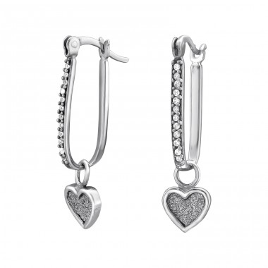 Heart - 925 Sterling Silver Ear Hoops A4S34505