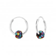 Rainbow Ball - 925 Sterling Silver Ear Hoops A4S35538