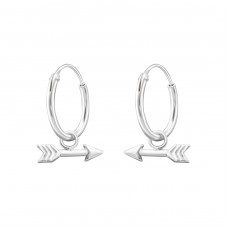 Hanging Arrow - 925 Sterling Silver Ear Hoops A4S35540