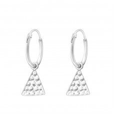 Hanging Triangle - 925 Sterling Silver Ear Hoops A4S35542