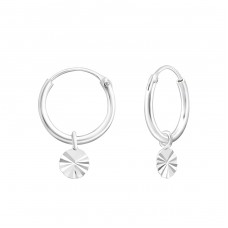 Hanging Circle - 925 Sterling Silver Ear Hoops A4S35553