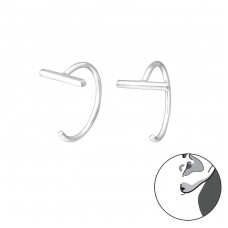 Bar - 925 Sterling Silver Ear Hoops A4S35610