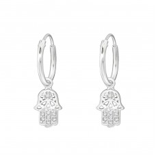 Hanging Hamsa - 925 Sterling Silver Ear Hoops A4S35612