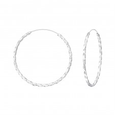 30mm Twisted - 925 Sterling Silver Ear Hoops A4S35682