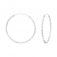 35mm Twisted - 925 Sterling Silver Ear Hoops A4S35683
