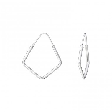 Square - 925 Sterling Silver Ear Hoops A4S35766