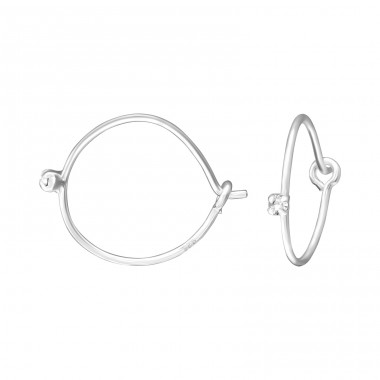 Single Stone 12mm - 925 Sterling Silver Ear Hoops A4S35866