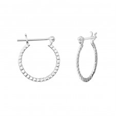18mm Patterned - 925 Sterling Silver Ear Hoops A4S35950
