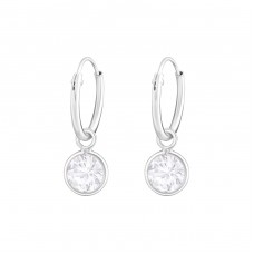 Hanging Round - 925 Sterling Silver Ear Hoops A4S36548