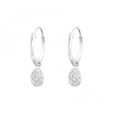 Hanging Pear - 925 Sterling Silver Ear Hoops A4S36806