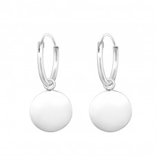Hanging Round - 925 Sterling Silver Ear Hoops A4S36978