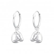 Hanging Horse - 925 Sterling Silver Ear Hoops A4S36979