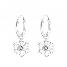 Snowflake - 925 Sterling Silver Ear Hoops A4S37058