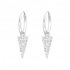 Hanging Triangle - 925 Sterling Silver Ear Hoops A4S37059