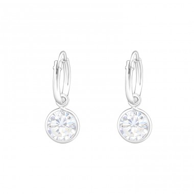Hanging Round - 925 Sterling Silver Ear Hoops A4S37120