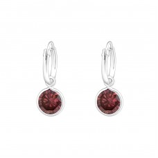 Hanging Round - 925 Sterling Silver Ear Hoops A4S37121