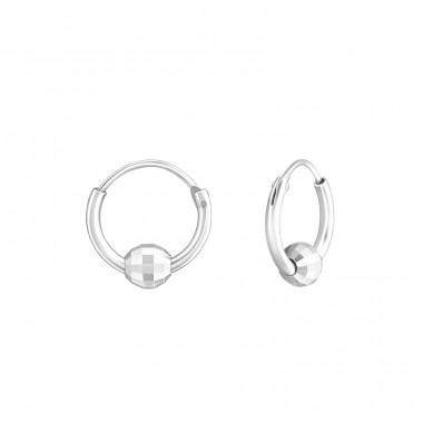 Round - 925 Sterling Silver Ear Hoops A4S37597