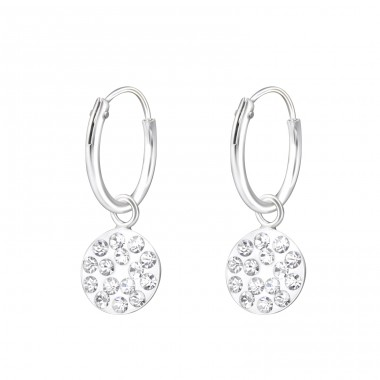 Hanging Round - 925 Sterling Silver Ear Hoops A4S37599