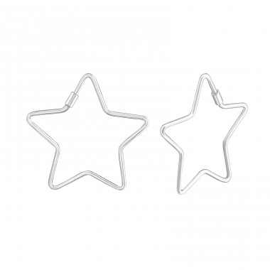 Star - 925 Sterling Silver Ear Hoops A4S37844
