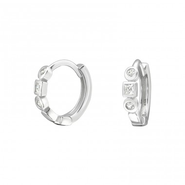 Geometric - 925 Sterling Silver Ear Hoops A4S37916