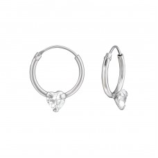 Heart - 925 Sterling Silver Ear Hoops A4S38124