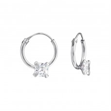 Square - 925 Sterling Silver Ear Hoops A4S38125