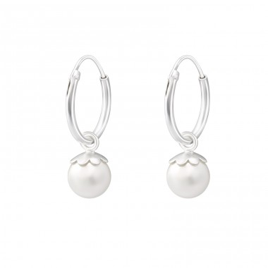 Hanging Synthetic Pearl - 925 Sterling Silver Ear Hoops A4S38270