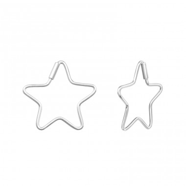 Star - 925 Sterling Silver Ear Hoops A4S38493