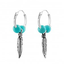 Hanging Feather - 925 Sterling Silver Ear Hoops A4S38554