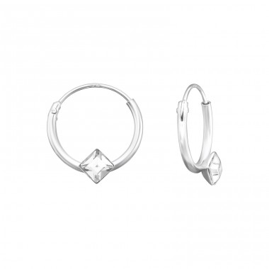 Square - 925 Sterling Silver Ear Hoops A4S39072