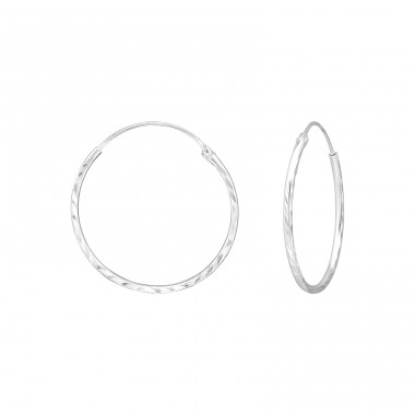 Diamond Cut 25mm - 925 Sterling Silver Ear Hoops A4S39073