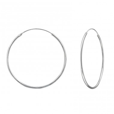 40mm simple silver hoop - 925 Sterling Silver Ear Hoops A4S39074
