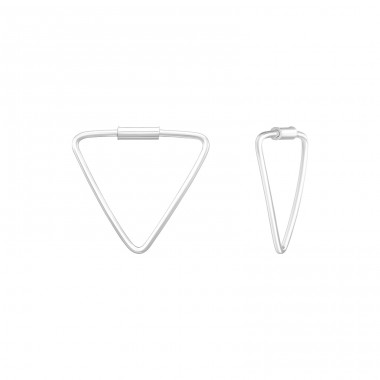 Geometric - 925 Sterling Silver Ear Hoops A4S39122
