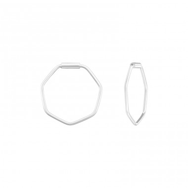 Geometric - 925 Sterling Silver Ear Hoops A4S39123