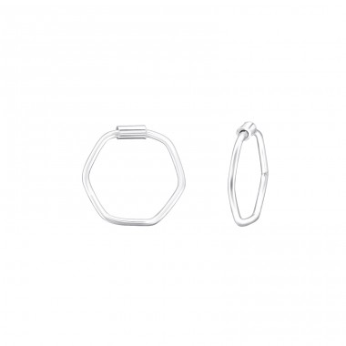 Geometric - 925 Sterling Silver Ear Hoops A4S39124