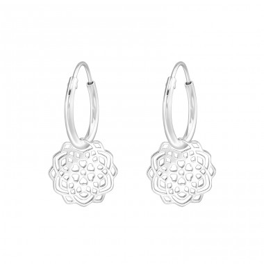 Flower - 925 Sterling Silver Ear Hoops A4S39198