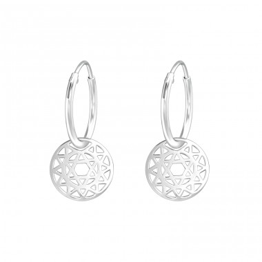 Star - 925 Sterling Silver Ear Hoops A4S39200