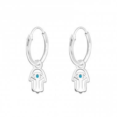 Hanging Laser Cut Hamsa - 925 Sterling Silver Ear Hoops A4S39725